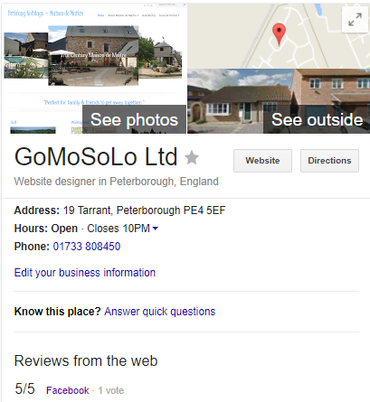 Listing for Google My Business Page